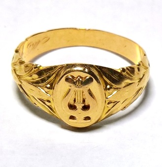 Antique Lyre front signet ring-Finland