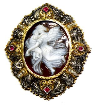 Antique Cameo brooch/pendant-angel & child N608A