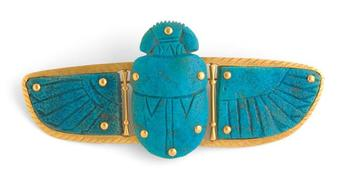 Antique DECO WINGED SCARAB BROOCH