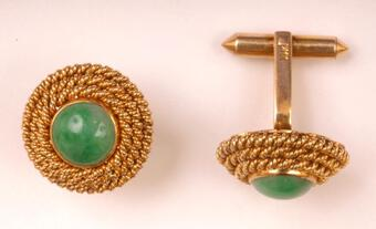 Antique JADE AND 14K CUFF LINKS