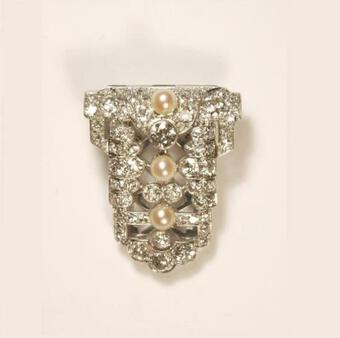 Antique DECO PEARL AND DIAMOND CLIP
