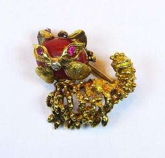 Antique TINY CAT BROOCH
