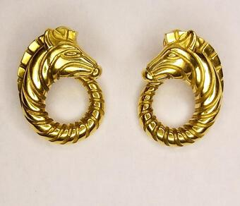 Antique ZEBRA EARCLIPS