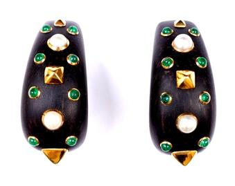 Antique EBONY EARCLIPS BY DEMNER