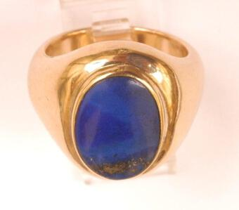 Antique MAN'S LARGE SIZE LAPIS LAZULI AND 9CT RING