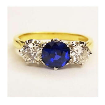 Antique SAPPHIRE & DIAMOND 3-STONE RING