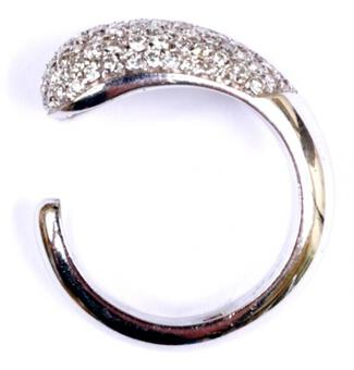 Antique PAVE DIAMOND 'C' RING