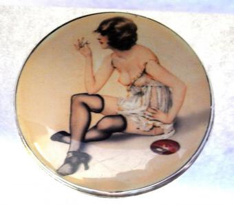 Antique MATCH HOLDER WITH 'EROTIC' ENAMEL PLAQUE