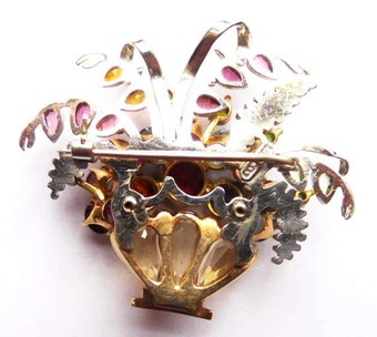 Antique flower basket brooch