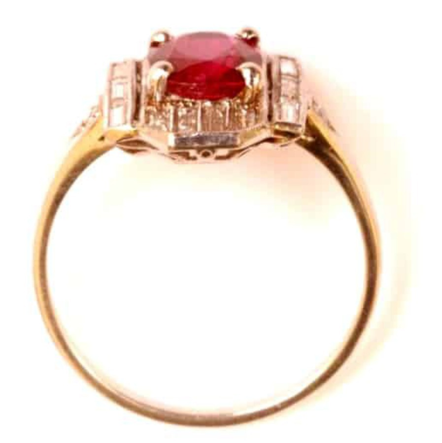 Antique DECO RUBY AND DIAMOND PLAQUE RING