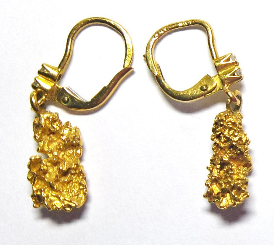 Antique N653A Gold nugget earrings