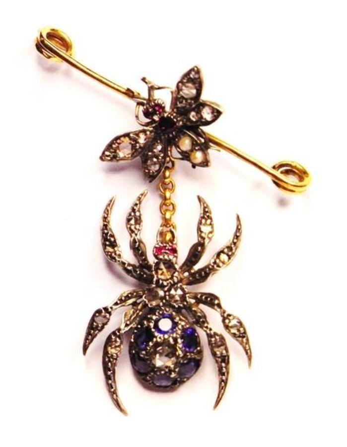 SPIDER AND FLY BROOCH