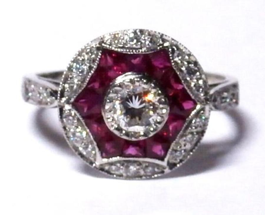 Diamond and ruby Deco style ring