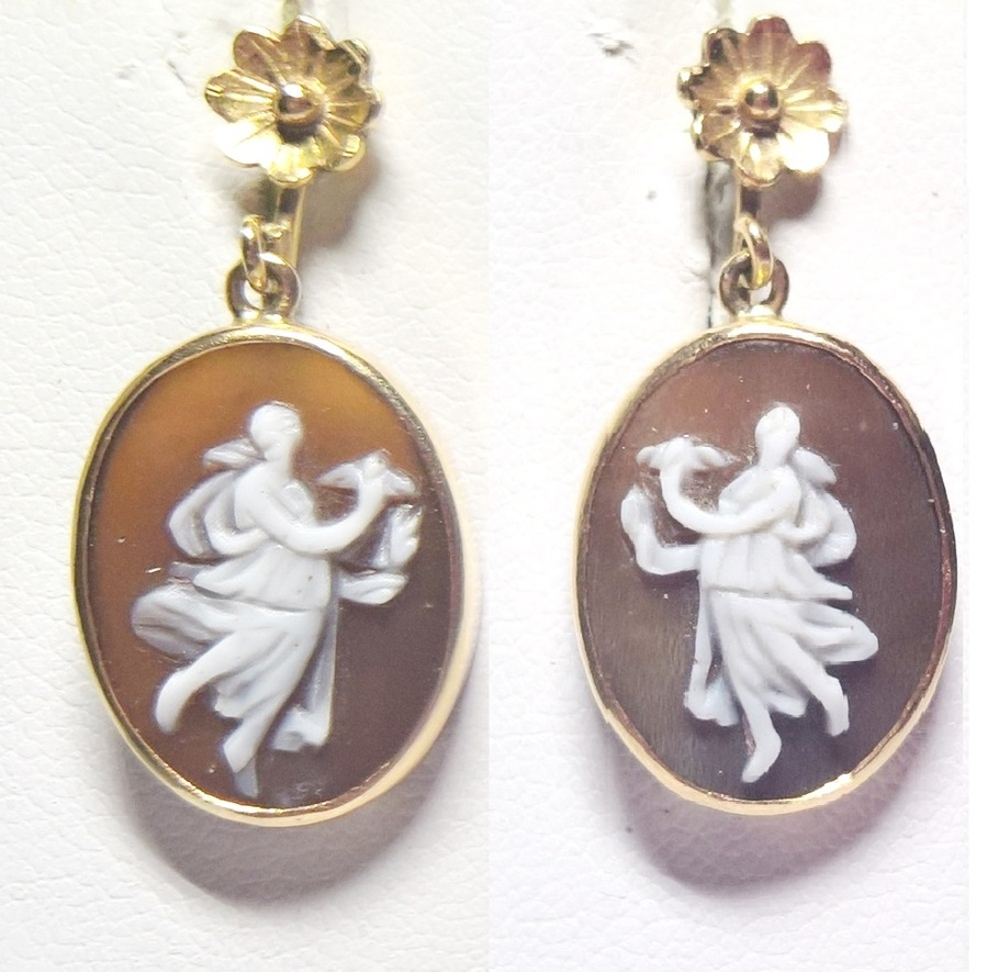 Shell cameo earrings N618A