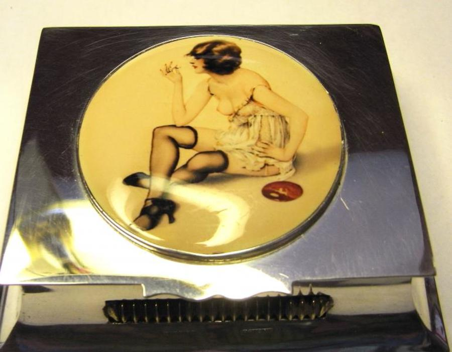 MATCH HOLDER WITH 'EROTIC' ENAMEL PLAQUE