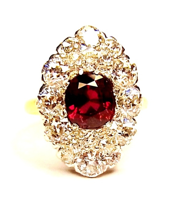 RUBY AND DIAMOND EDWARDIAN RING