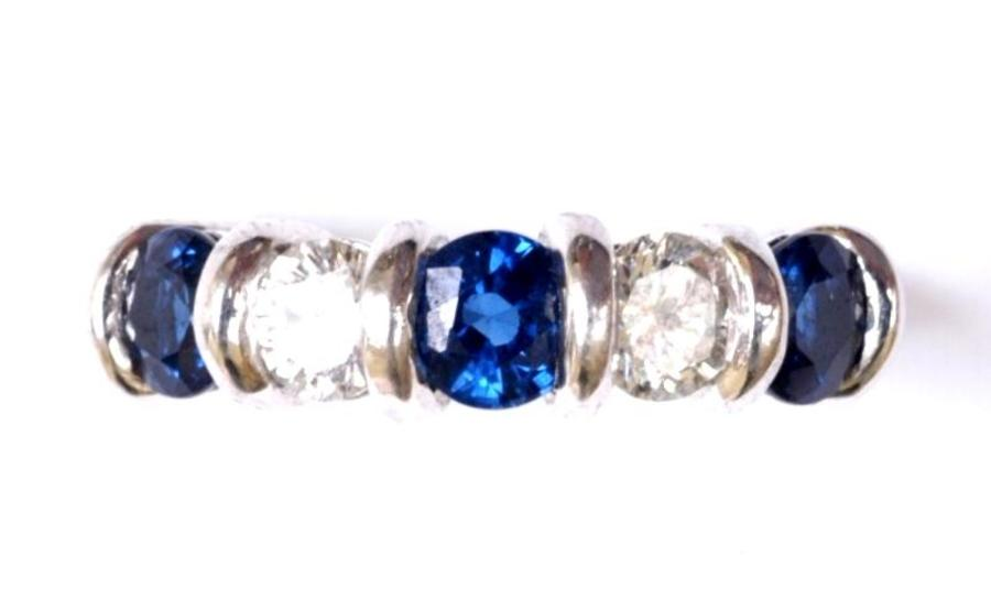 SAPPHIRE AND DIAMOND FIVE-STONE RING