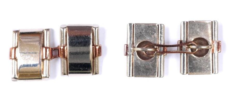 PLATINUM AND GOLD CUFF-LINKS