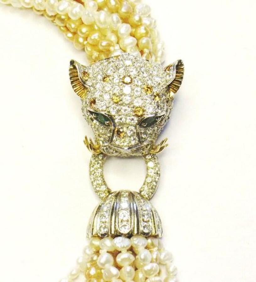 Leopard Head pearl necklace