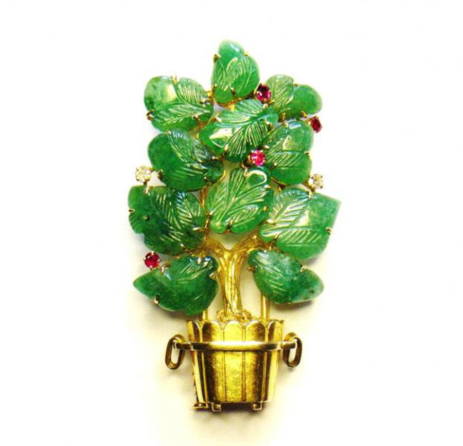 DECO EMERALD TREE BROOCH