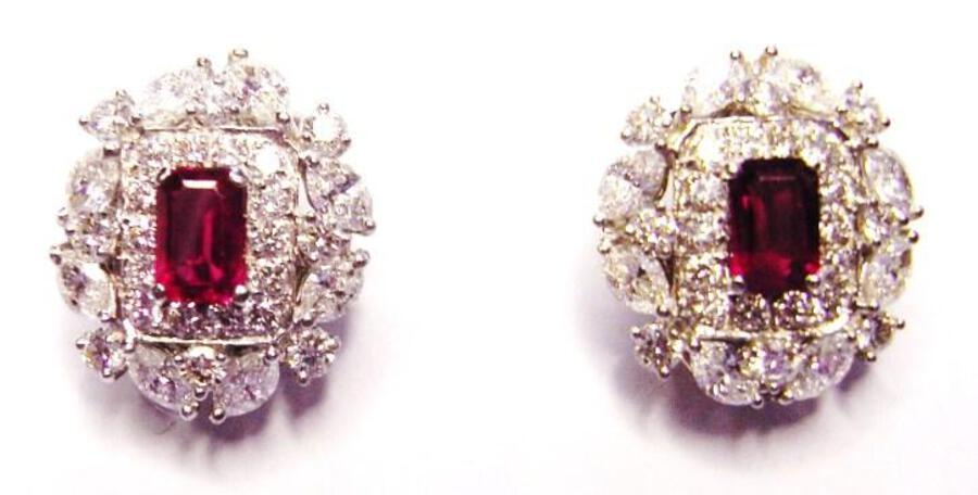 RUBY AND DIAMOND EARCLIPS