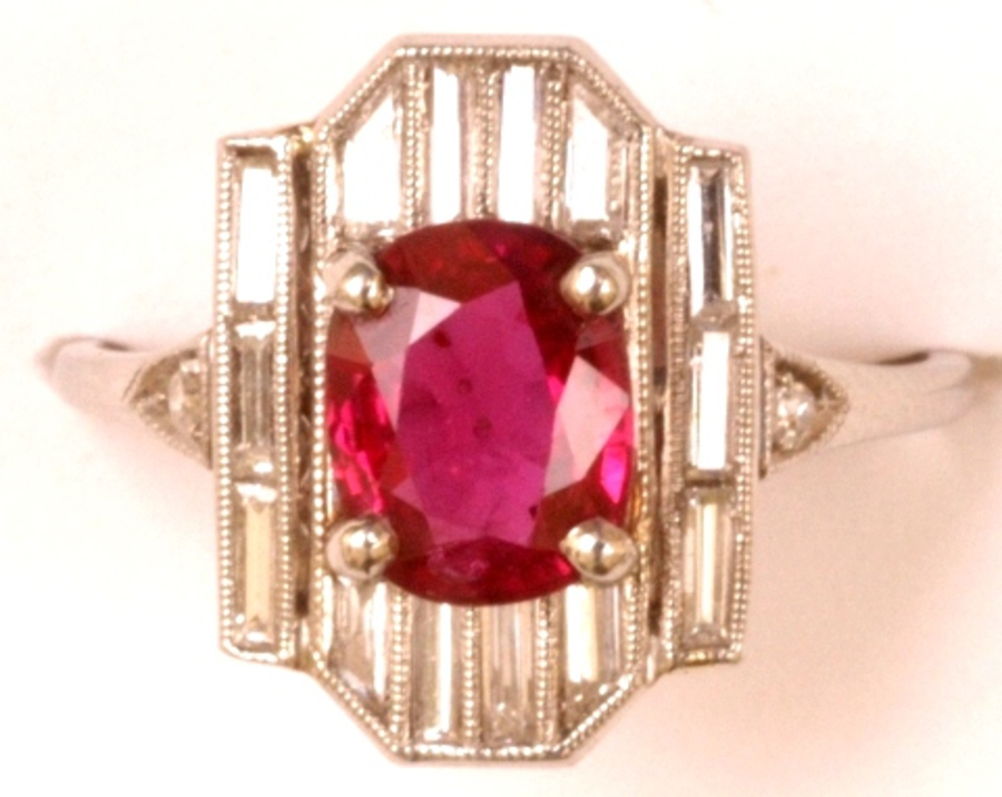 DECO RUBY AND DIAMOND PLAQUE RING