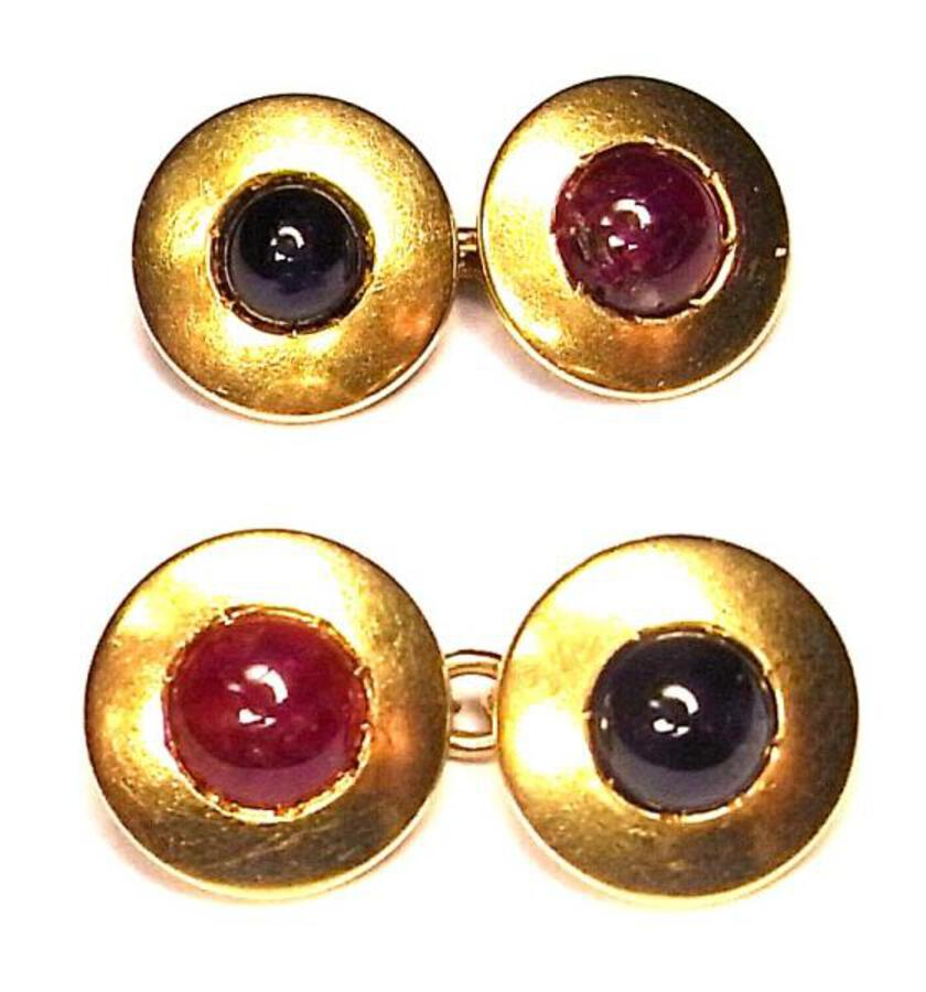 RUBY AND SAPPHIRE CUFF LINKS