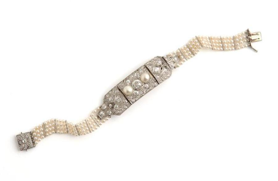 EDWARDIAN DIAMOND & NATURAL PEARL BRACELET/CHOKER