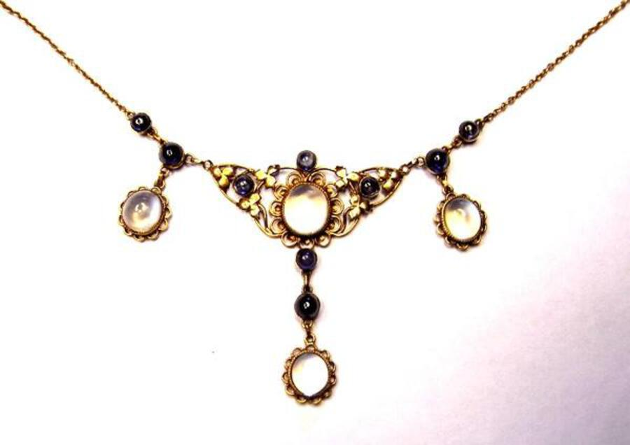 Edwardian sapphire and moonstone necklet