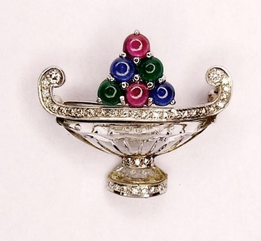 DECO STYLE FRUIT BASKET BROOCH