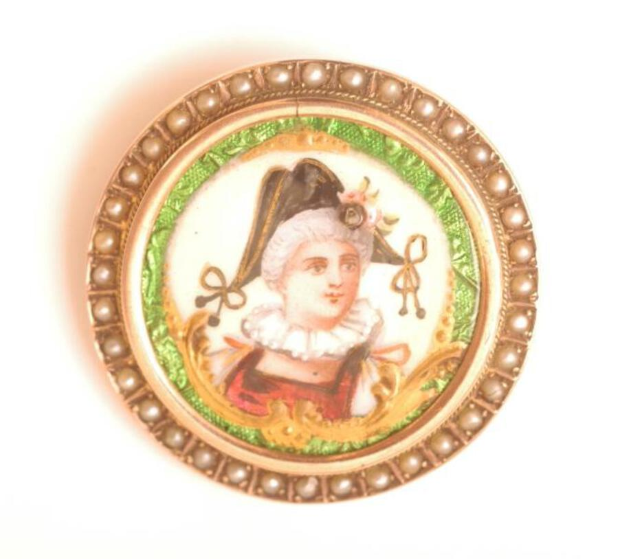 BROOCH - LIMOGES ENAMEL AND HALF-PEARL