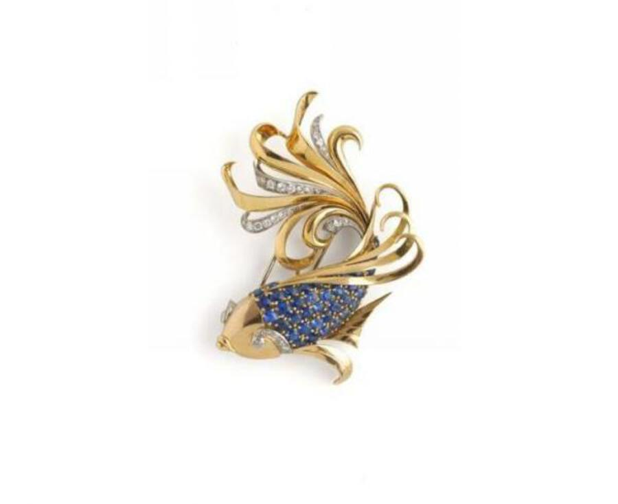 1940S LEAPING FISH BROOCH