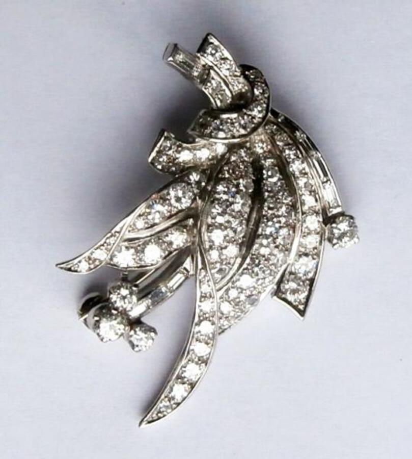 Diamond leaf spray brooch