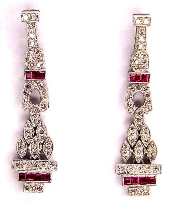 DIAMOND AND RUBY DECO STYLE EARRINGS