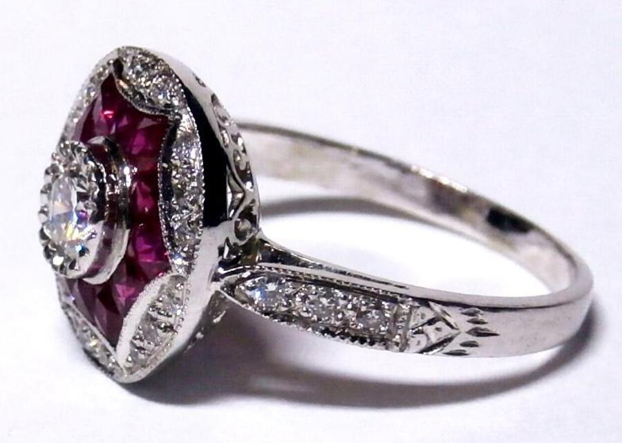 Antique Diamond and ruby Deco style ring