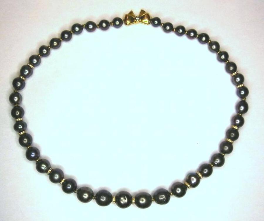 Antique SOUTH SEA BLACK PEARL NECKLACE