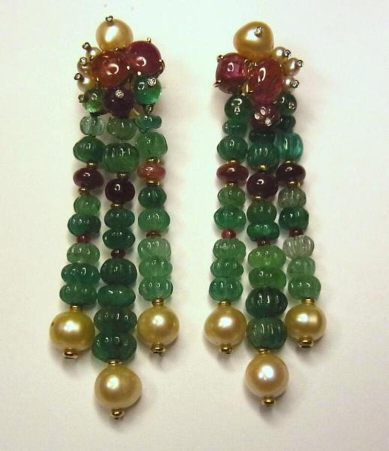 EMERALD BEAD EARRINGS