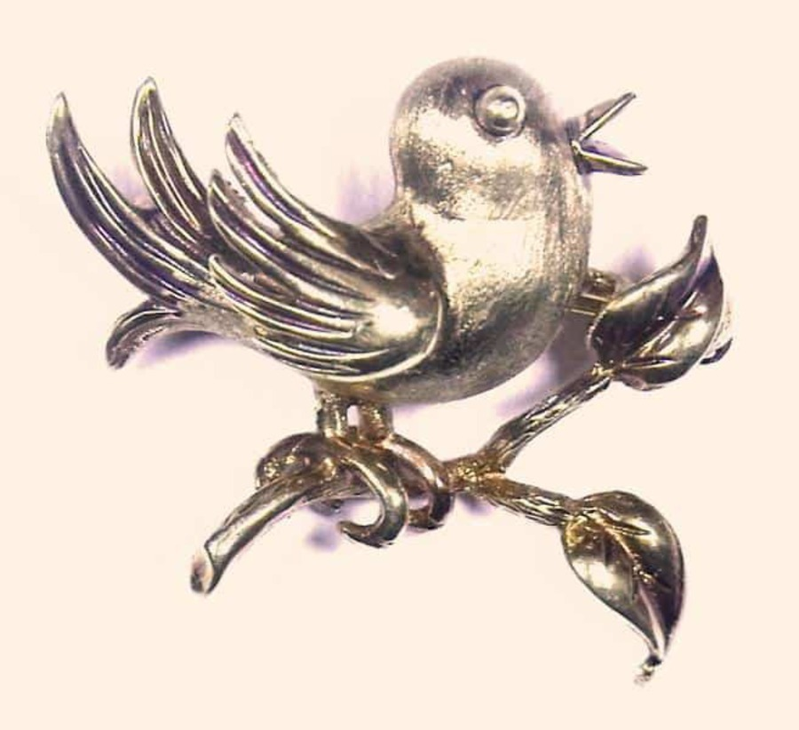 Antique CHIRPY BIRD BROOCH