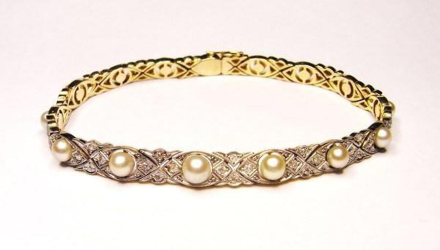 Antique Edwardian diamond and natural pearl bracelet