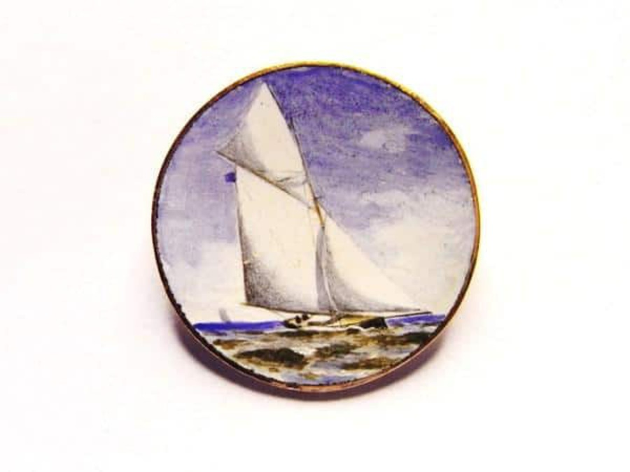 Antique YACHTING ENAMEL LAPEL PIN