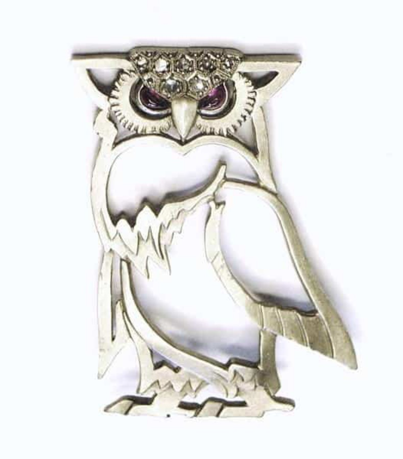 Antique PALLADIUM OWL BROOCH