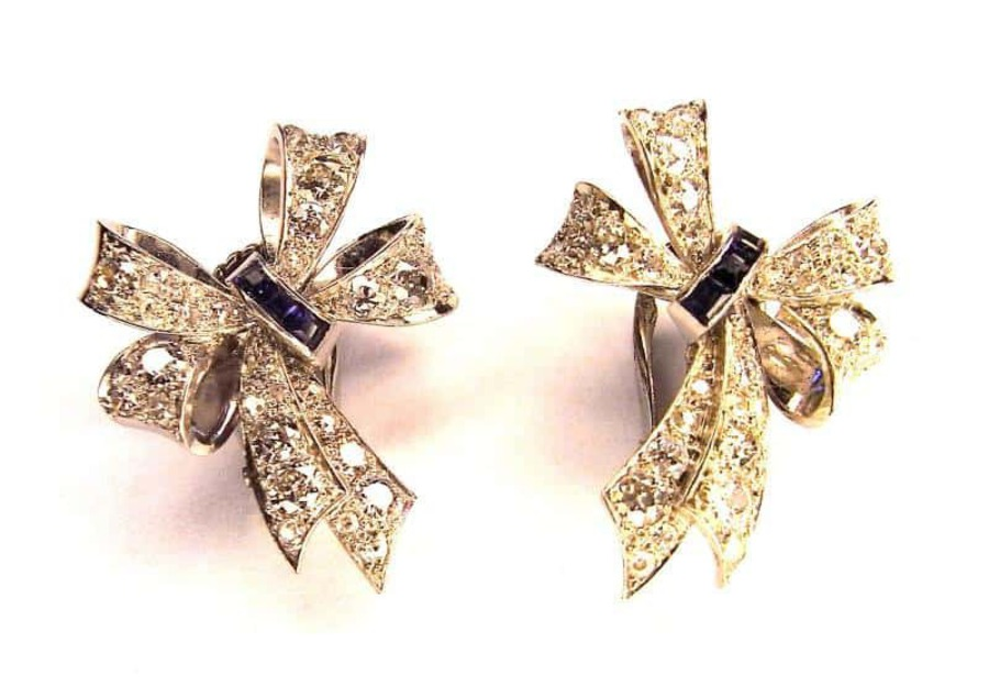 Antique DIAMOND AND SAPPHIRE BOW EARCLIPS