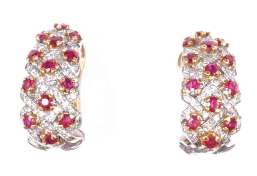 Antique EARCLIPS - RUBY AND DIAMOND LATTICE