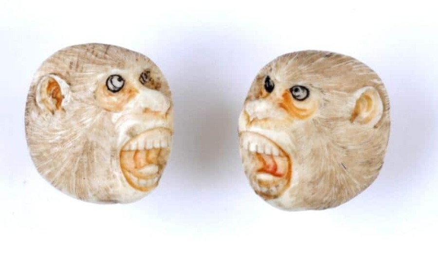 Antique MONKEY-FACE IVORY CUFF-LINKS