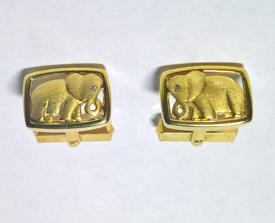 Antique Elephant cuff-links