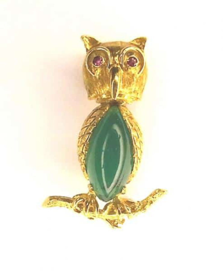 Antique OWL BROOCH