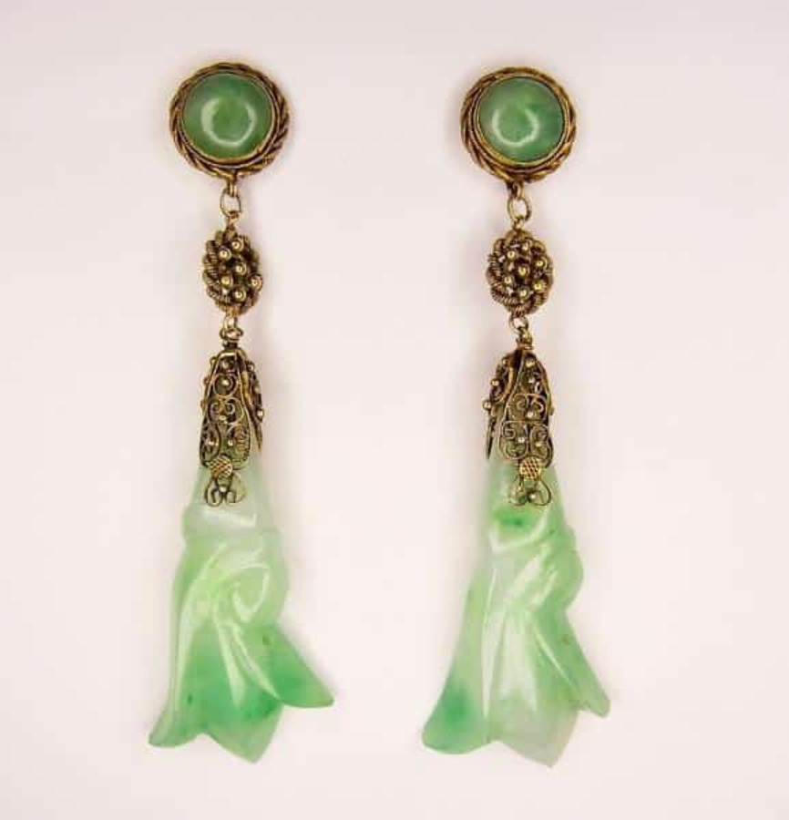 Antique JADE LONG DROP EARRINGS