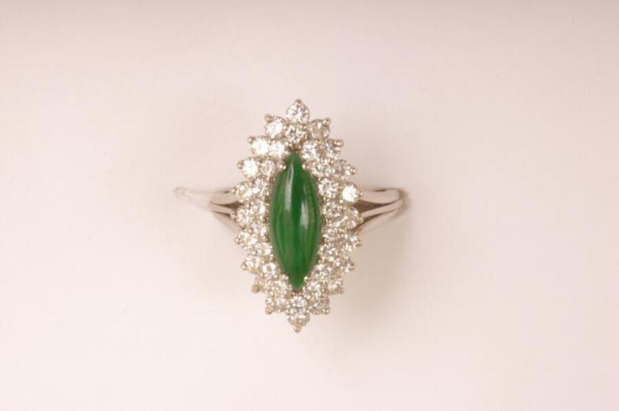 Antique IMPERIAL JADE AND DIAMOND RING