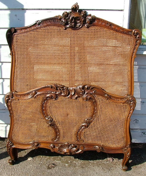 Antique ANTIQUE FRENCH LARGE SINGLE BERGERE CANE BED B434
