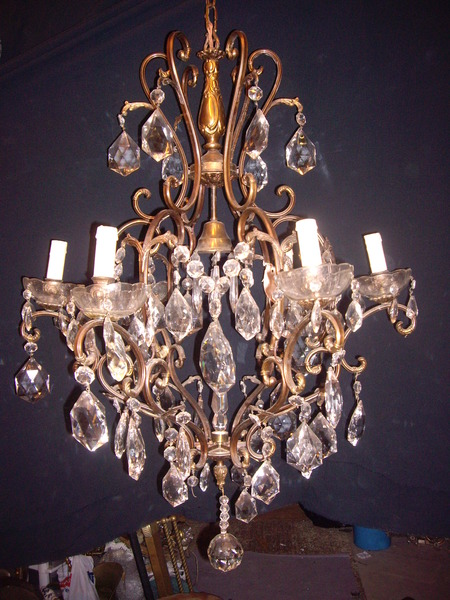 Antique Italian chandelier with Deco crystals